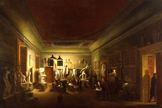The Antique Room of the Royal Academy at New Somerset House, 1780 - 1783. (c) Royal Academy of Arts